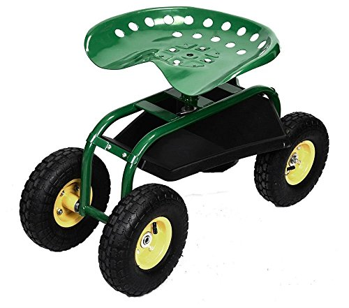 New Rolling Garden Cart Work Seat With Heavy Duty Tool Tray Gardening Planting Green by Unknown