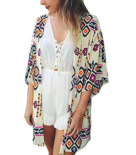 Women's 3/4 Sleeve Floral Kimono Cardigan, Sheer Loose Shawl Capes, Chiffon Beach Cover-Up, Casual Blouse Tops (P-White, -