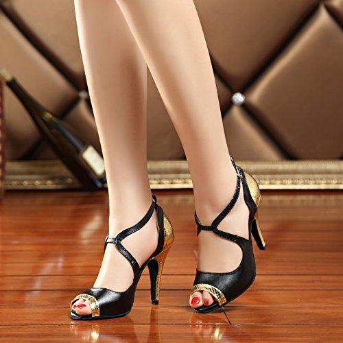 Miyoopark ,  Damen Tanzschuhe , gold - Black/Gold-10cm heel - Größe: 42