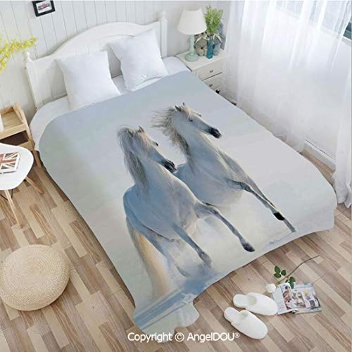 Albino Fire Tail - AngelDOU Portable Car Air Conditioner Blanket W72 xL78 Galloping Rare Spotted Horses on Snow Field Dominant Genes Albino Different Animals P for Home Couch Outdoor Travel.