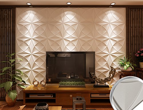 Wedecor Decorative Anti-shock Soundproofing Carved Faux Leather tile, Soft 3D Wall Panels(Pack of 27) 40x40cm 46.5 Sq Ft Youth (Maize-White)
