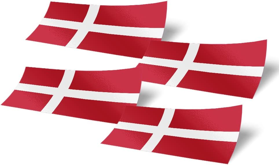 Denmark 4 Pack of 4 Inch Wide Country Flag Stickers Decal for Window Laptop Computer Danish 4