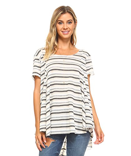 Stripes Limited Edition - Simplicitie Women's Short Sleeve Loose Fit Flare Flowy T Shirt Tunic Top - Regular and Plus Size - Made in USA (Small, Gray Stripe (Limited Edition))