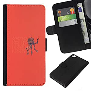 KLONGSHOP // Tirón de la caja Cartera de cuero con ranuras para tarjetas - Alla ricerca di qualcosa Robot - HTC Desire 820 //