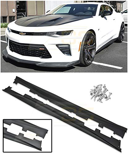 - Replacement For 2016-Present Chevrolet Camaro SS RS | EOS ZL1 Style ABS Plastic PRIMER BLACK Side Skirts Rocker Panels