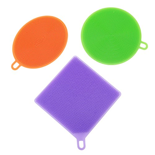 3PCs/Set Silicone Dish Bowl Cleaning Brush Scouring Pad Kitchen Cooking Pot Cleaner Hand Protector Washing Sponge Scrubber