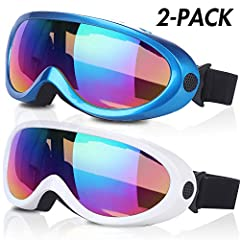 Rngeo Ski Goggles, New Edition, the Best Partner for Skiing in Winter with Your Family and Friends.FEATURES- Anti-glare- Windproof- Fluent shape- Better air vents- Fit for all people- Wide view angle- Colorful & vivid- UV 400 protection- ...