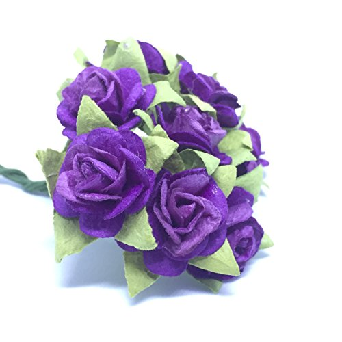 100 (Dark Purple) Mulberry Paper Mini Rose Artificial Flower Scrapbooking Bouquet Diy Craft Handmade in (Valentine's,Wedding etc.) Embellishment Floral Arranging - Purple Optics Review