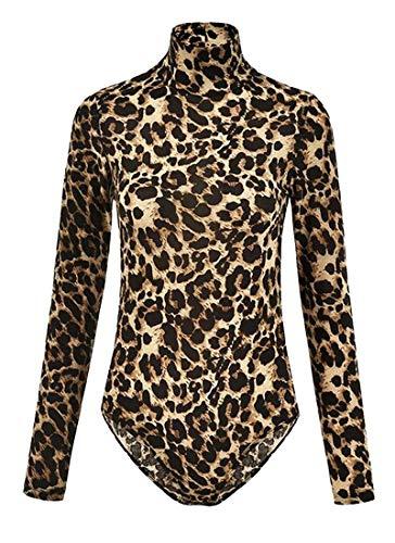 Animal Leotards Print (WSPLYSPJY Women's Turtleneck Long Sleeve Animal Leopard Print Bodysuit Leotard Tops 1 M)