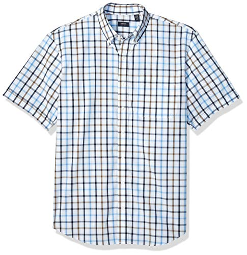 Arrow 1851 Men's Big and Tall Hamilton Poplins Short Sleeve Button Down Plaid Shirt,  Sapphire ice, 4X-Large -