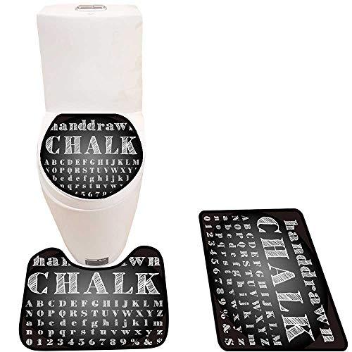 - Bathroom Non-Slip Floor Mat Drawn Chalk Alphabet Machine-Washable