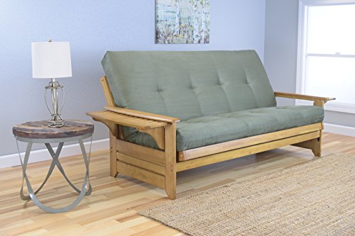 rosemount-full-size-sofa-futon-honey-oak-wood-frame-with-suede-innerspring-mattress-olive