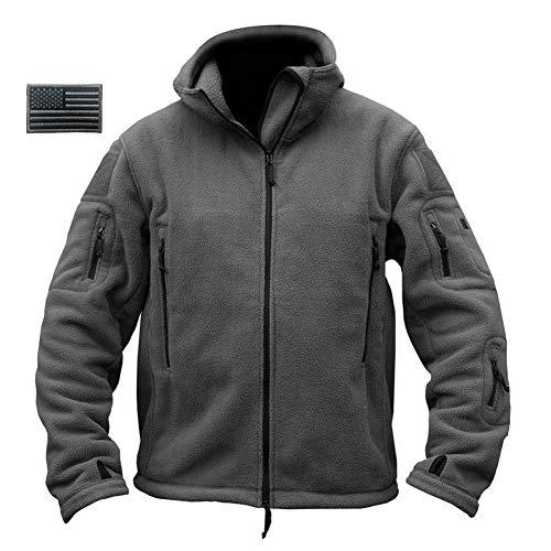 Ike Style Jacket - ReFire Gear Mens Warm Military Tactical Sport Fleece Hoodie Jacket,Gray,X-Large