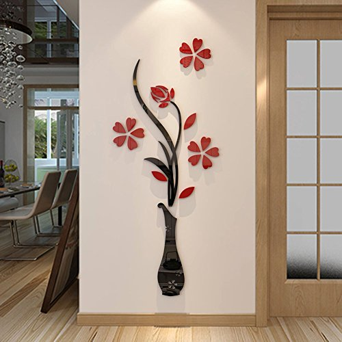 3d Vase Wall Murals for Living Room Bedroom Sofa Backdrop Tv Wall Background, Originality Stickers Gift, DIY Wall Decal Wall Decor Wall Decorations (Red, 59 X 23 inches) (Wall Decor)