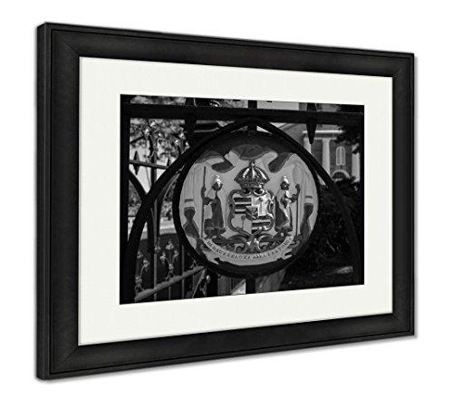 Ashley Framed Prints Painted Seal At Kawaiahao Church, Wall Art Home Decoration, Black/White, 26x30 (frame size), Black Frame, AG6406108 - Framed Badge
