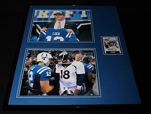 Andrew Luck Signed Framed 16x20 Photo Display Colts w/Peyton Manning - Autographed NFL (Peyton Manning Signed Framed)