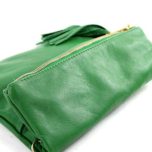 T54 Bandolera de Piel Italiana, Clutch para llevar bajo brazo, pequeño (piel de napa) Verde