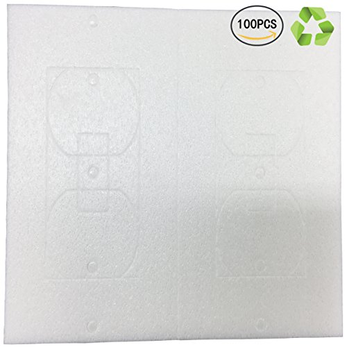 Foam Gaskets (Birllaid Wall Plate Insulation Gaskets Foam Gaskets for Electrical Outlets Foam Outlet and Switch Sealers 100-Pack)