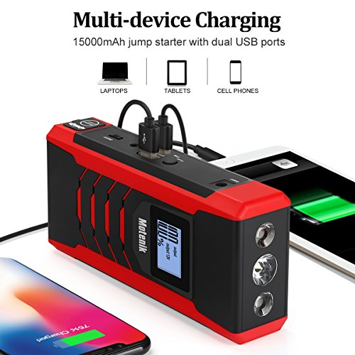 800A Peak Jump Starter with Emergency Light 4 Modes Motenik Car Jump Starter(Up to 6.5L Gas or 5.0L Diesel Engines) Auto Battery Booster Dual USB Power by Motenik (Image #4)