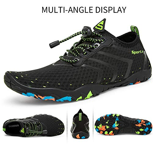 927 Unisex Respirable Natación Secado Agua Lekuni Color De Calzado Negro Piscina Zapatos Soles Rápido Playa 6wFcFq8d
