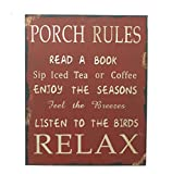Attraction Design Porch Rules Metal Antique Wisdom Sign