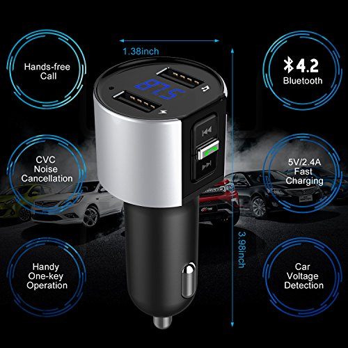 Bluetooth FM Transmitter, ESOLOM in-Car FM Radio Adapter Hands-Free Calling, Car Charger, MP3 Player Car Kits Dual USB Port Charger 5V/2.4A&1A, Support Voltage Detection (Sliver) by ESOLOM (Image #7)