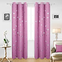 Deconovo Solid Thermal Insulated Blackout Curtains with Silver Star Foil Print for Girls' Bedroom 52 By 95 Inch Pink 1 Pair