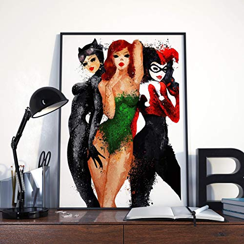 Notorious Gotham City Sirens Harley Quinn, Catwoman, Poison Ivy comics art on canvas -
