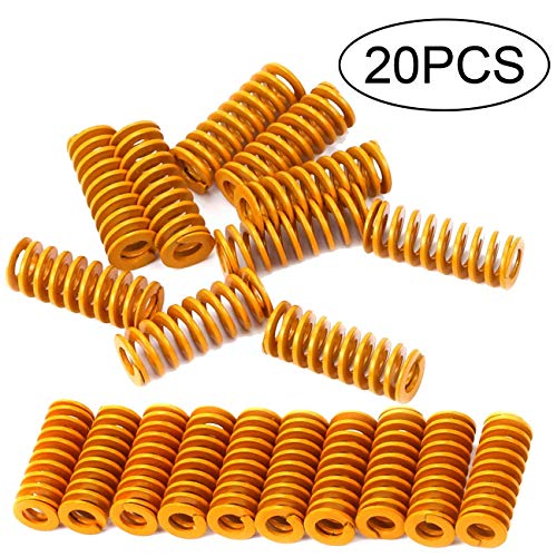TIHOOD 20 Pack 3D Printer 8mm OD 20mm Long Light Load Compression Mould Die Spring Yellow