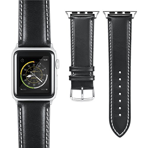 Benuo Leather Watch Band for Apple Watch Series 4, 44/42mm Premium Genuine Leather Band, Classy Wrist Strap Replacement with Buckle for iWatch Series 4/3/2/1/Nike+ (Black, White Stitch-42mm)