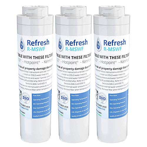 Refresh Replacement Refrigerator Water Filter for GE MSWF, Tier1 RWF1062, Aquafresh WF282, Arrowpure APF-1800, AQUACREST AQF-MSWF and IcePure RWF1500A (3 Pack)