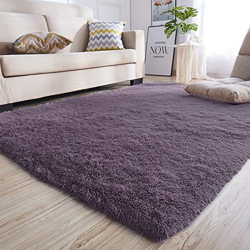 Junovo Rectangle Ultra Soft Area Rugs Fluffy Carpets for Bedroom Living Room Shaggy Floor Rug Home Decor Mats, 4 x 5.3ft, Grey-Purple (Area And Purple Black Rugs)
