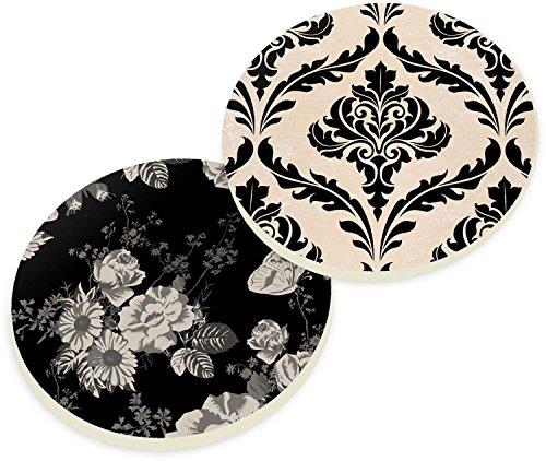 Damask Flush (Black Tan Rose Floral Damask 2 Piece Ceramic Car Coasters Set)