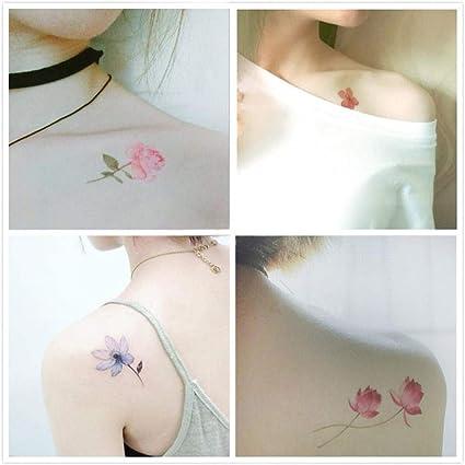 Flor tatuaje temporal tatuaje impermeable etiqueta engomada del ...