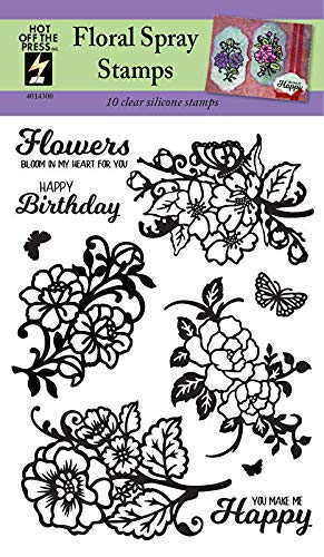 Clear Silicone Stamp Set by Hot Off The Press   Scrapbooking, Card Making, Gifts and Home Decor - Inspiration at Your Finger Tips (Floral Sprays)