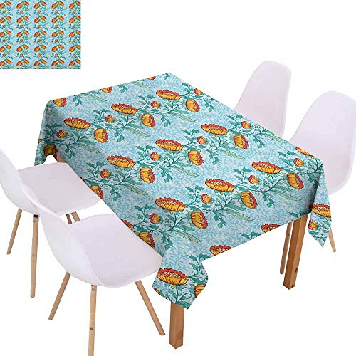 Lively Leaves Desk Topper - Washable Table Cloth Oriental Botanical Composition with Ornate Vertical Borders Leaves and Lively Blossoms Table Decoration W54 xL84 Multicolor