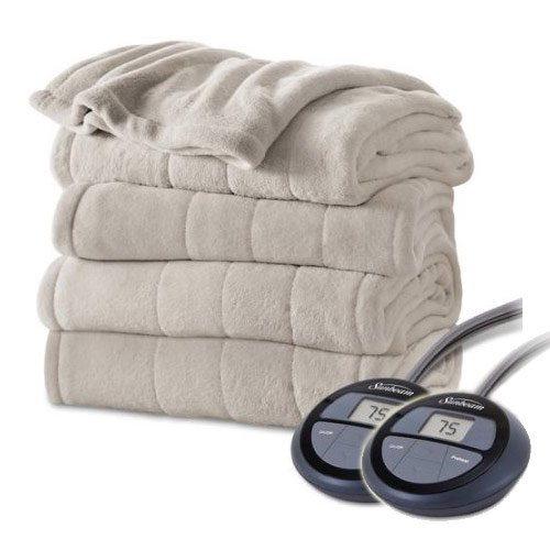 Sunbeam Channeled Velvet Plush Electric Heated Blanket Queen Sand