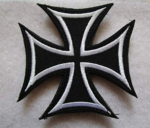 German Cross 3D Tactical Military Badges Embroidered Patch Back with Loops and Hook