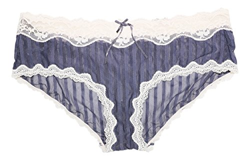 Heidi Klum Mesh With Lace Striped Cheeky Hipster Panty (Large, Graystone)