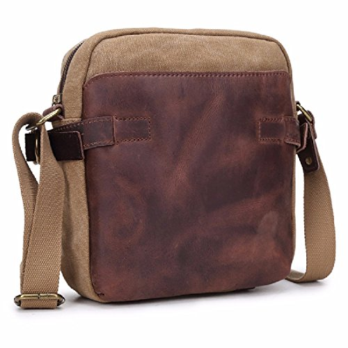 KHSKX Canvas bag men's casual canvas shoulder bags slung parcel male Korean version flows cool chest Pack,Khaki