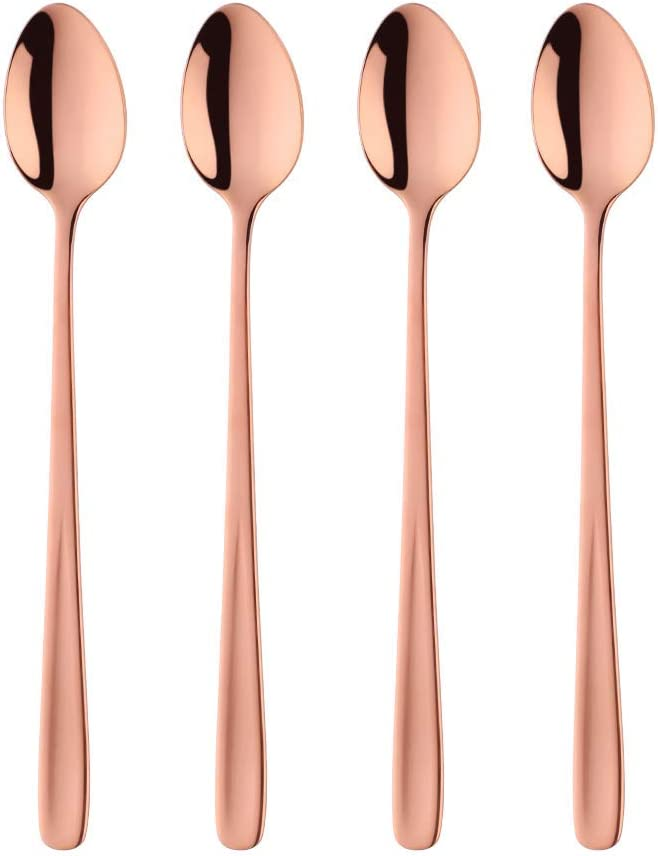 Long Handle Iced Tea Spoon, 8 inch Coffee Spoons, Baikai Stainless Steel Cocktail Stirring Spoons, Dishwasher Safe, Set of 4 (Rose Gold)