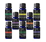 #3: Radha Beauty Aromatherapy Top 8 Essential Oils 100% Pure & Therapeutic grade - Basic Sampler Gift Set & Kit (Lavender, Tea Tree, Eucalyptus, Lemongrass, Orange, Peppermint, Frankincense and Rosemary)