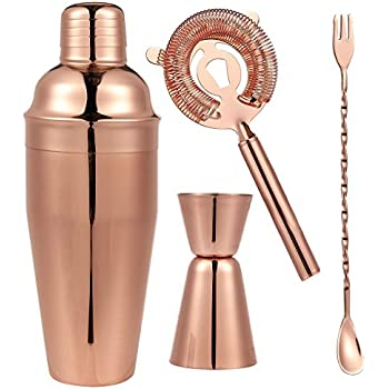 4 Piece Barware Set   Copper Plated Stainless Steel   Drink Shaker Set    Includes