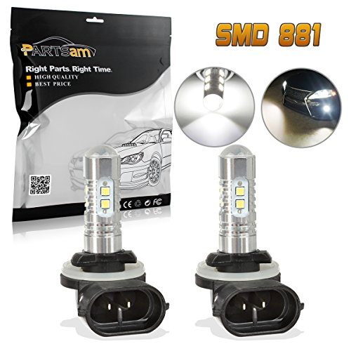2000 Honda Civic Fog Lights (Partsam 2x 25W White 881 886 896 High Power 6000K Super Bright LED Fog Driving Light For Ford)