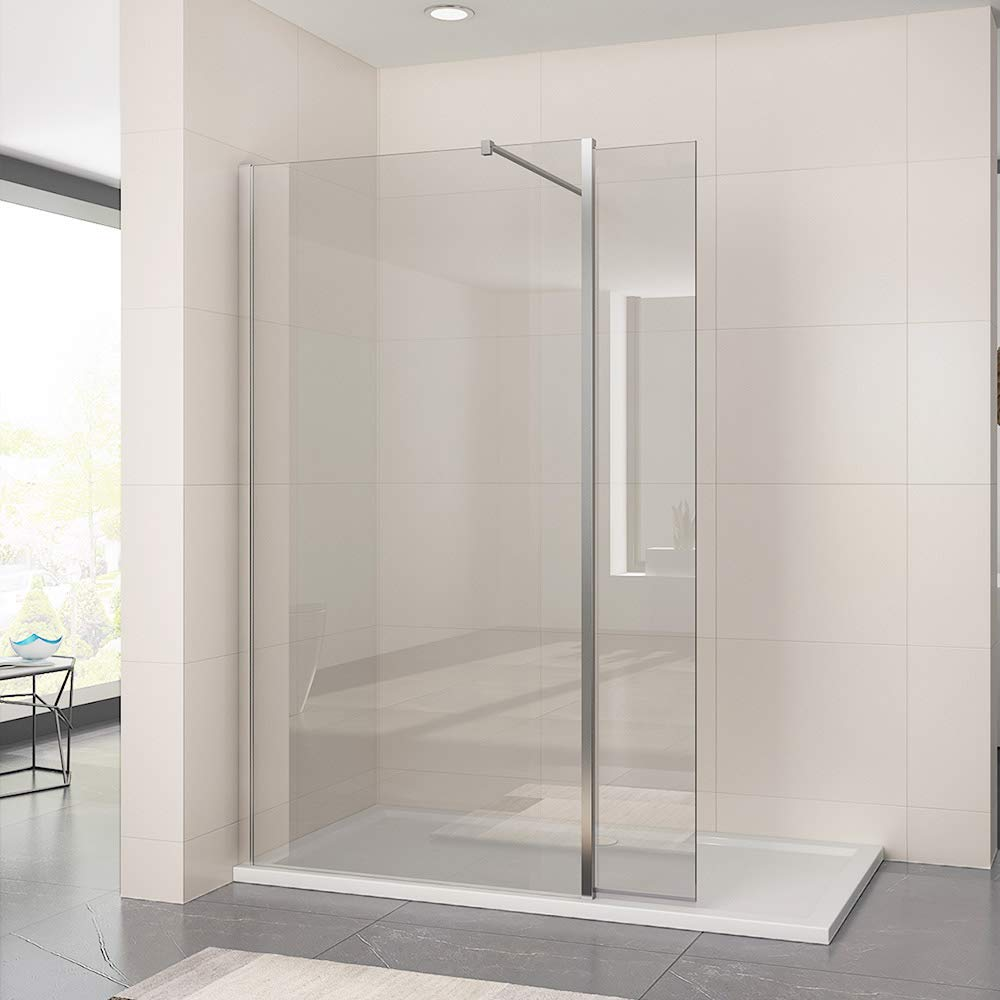 800mm Easy Clean Walk In Wetroom Shower Enclosure 8mm Glass Shower Screen Panel with 300mm Flipper Panel sunny showers