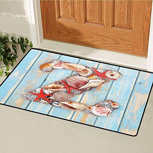 Gloria Johnson Letter Z Front Door mat Carpet Maritime Summer Theme Z Tropical Aquatic Wildlife Nautical Font Machine Washable Door mat W31.5 x L47.2 Inch Pale Blue Ivory Dark Coral