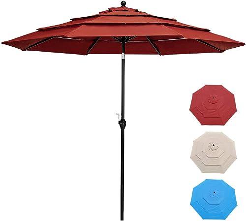 FrenzyBird 10 Ft 3 Tiers Patio Umbrella Market Umbrella Outdoor Table Umbrella
