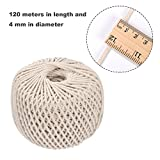 Shappy Polyester-cotton Cord Rope DIY Craft Cord Knitting Rope String, Natural Color (120 Meters, 4 mm)