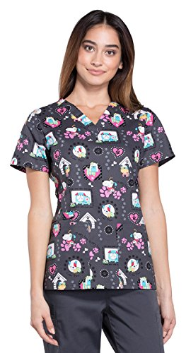 Cherokee Women's V-Neck Dog Print Scrub Top XXXX-Large Print (Vet Scrub)