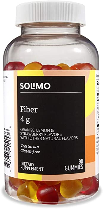 Amazon Brand - Solimo Fiber 4g - Digestive Health, Suppports Regularity - 90 Gummies (2 Gummies per Serving)